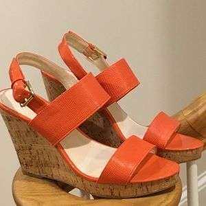 Orange Nine West Wedge Sandals
